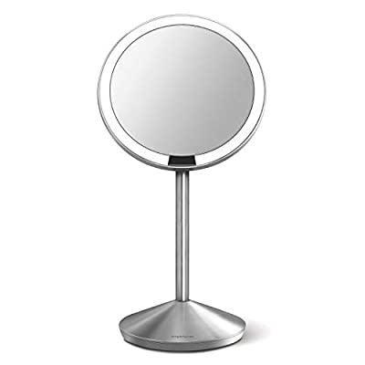 simplehuman 5 inch Sensor Mirror, Lighted Makeup Mirror, 10x Magnification, Stainless Steel