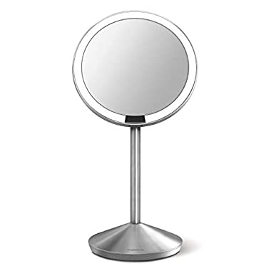 simplehuman Mini Sensor Lighted Makeup Travel Mirror 5  Round, 10x Magnification, Stainless Steel, Rechargeable