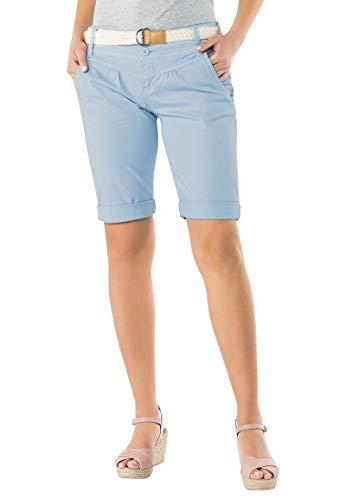 Fresh Made Damen Bermuda-Shorts in Pastellfarben mit Gürtel Light-Blue M