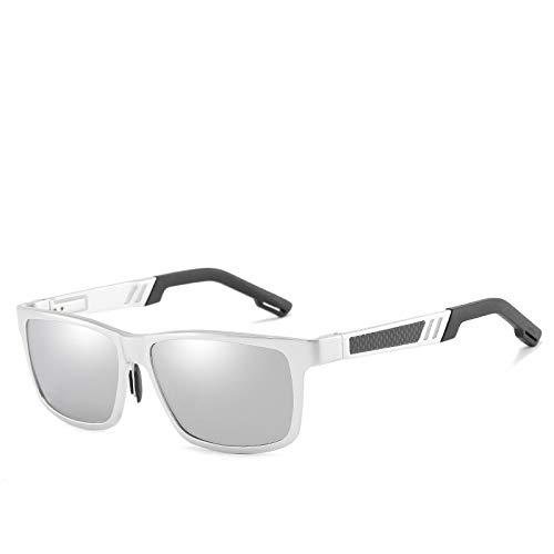 Gafas de Sol,Gafas de sol polarizadas de aluminio y magnesio para hombres, espejo del conductor, espejo de conducción, espejo de pesca, marco plateado, mercurio blanco # 5