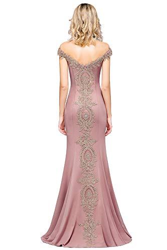 MisShow Damen Meerjungfrau Ballkleider Off Shoulder Lang Abendkleider Partykleid Alt-Rosa 38