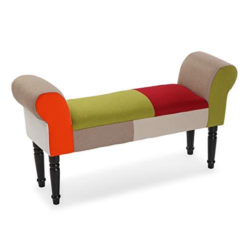 Versa Red Patchwork Taburete pie de Cama para el Dormitorio, Banco para el Hall o la Entrada, con Apoyabrazos, Medidas (Al x L x An) 53 x 32 x 100 cm, Algodón y Madera, Color Rojo