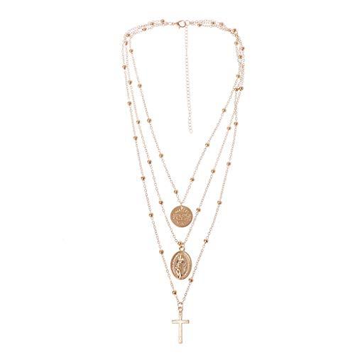 VIccoo Collar de múltiples Capas de la Cruz de la Virgen María Colgante Diosa Cristiana joyería católica - Oro