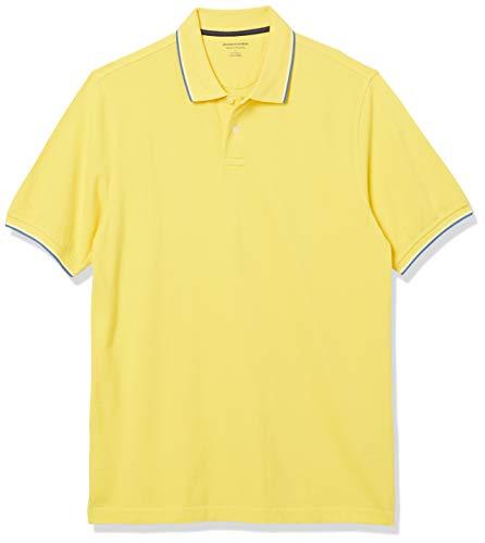 Amazon Essentials Regular-Fit Cotton Pique Polo Shirt Shirts, Punta Amarilla, Azul y Blanca, XXL