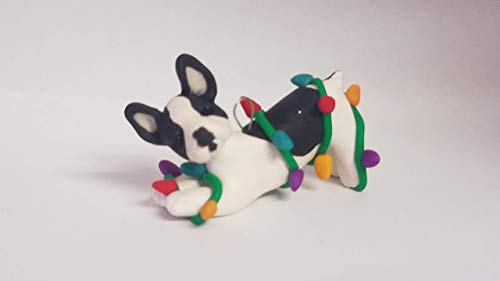 FRENCH BULLDOG ORNAMENT PIED BLACK/WHITE tangled lights Hand Made OOAK