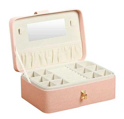 SMSOM Caja de joyería para Mujer Joyería Organizador Caja 2 Capas Cajas de joyería Mostrar Caja de Almacenamiento Sostenedor para niñas Pink