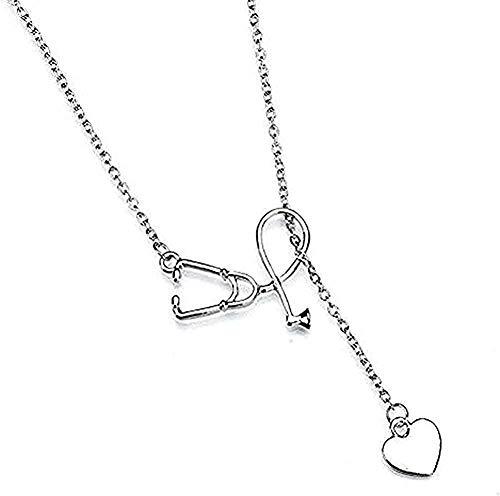 WYDSFWL Collar Elegante Gargantilla Damas Amor Colgante Doctor Enfermera Melocotón Corazón Aleación Estilo Mujer Collar Regalos