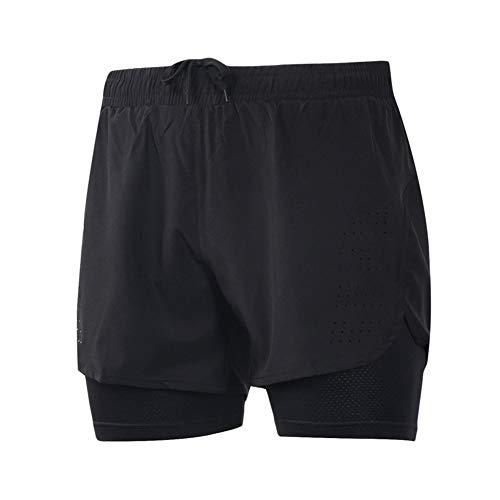 Pantalones Cortos para Correr para Hombres,Pantalones Cortos Deportivos para Correr 2 En 1,Pantalones Cortos para Entrenamiento Físico Al Aire Libre(Color:Negro,Size:Metro)