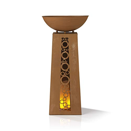 EASYmaxx LED- Pflanzsäule | Dekosäule mit Pflanzschale ca. Ø 32 cm | Integrierte Timerfunktion, warmweiß leuchtende LEDs | für innen und aussen [68cm] (Rost-Optik)