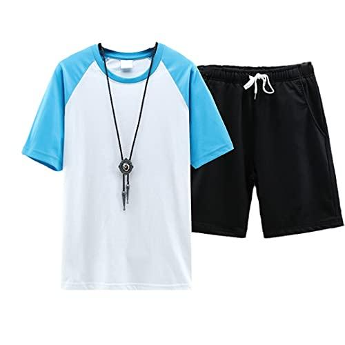 Camiseta + Pantalones Cortos Verano Hombres Camisa Empalme Colisión Color Camisas de Manga Corta Hombre Casual Camisas, azul, 3XL