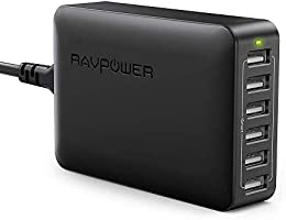 RAVPower 60W 12A 6-Port USB Charger Desktop Charging Station with iSmart, Compatible with iPhone Xs XS Max XR X 8 7...