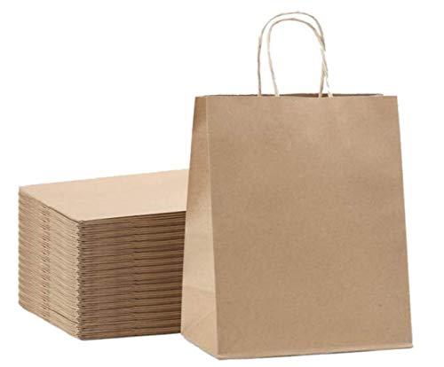 Brown Kraft Paper Gift Bags Bulk with Handles 8x4.25x10.5 [50Pcs