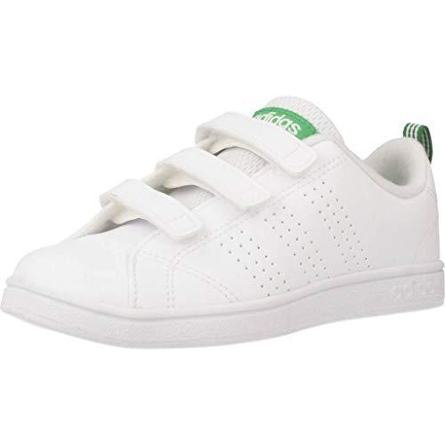 adidas Vs ADV Cl Cmf C, Scarpe da Fitness Unisex-Bambini, Bianco (Ftwwht/Ftwwht/Green Ftwwht/Ftwwht/Green), 28 EU