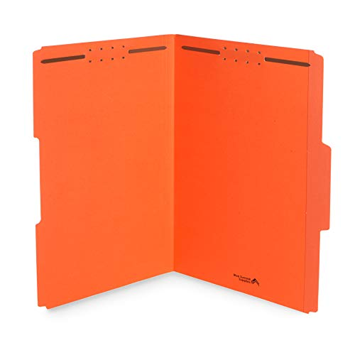 Blue Summit Supplies Orange Fastener File Folders, Legal File Folders with Fasteners, 1/3 Cut Reinforced Tabs, Durable 2 Prongs, for Organizing Standard Medical or Law Files, 50 Pack