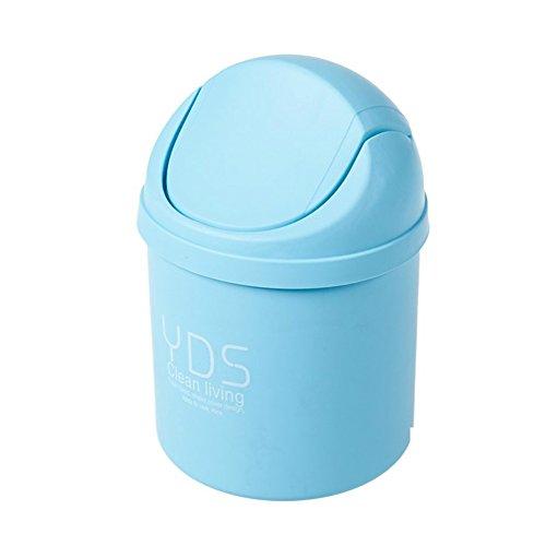Color : Blue Wapipey Table basse de salon de maison mignonne cr/éative de bureau avec le couvercle petit panier /à papier mini-poubelle en plastique Flip peut bin