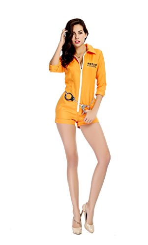 gefangener Gangster Boss Kostüm für Damen orange Gefangenenkostüm Sträfling Häftling Drogen Baron