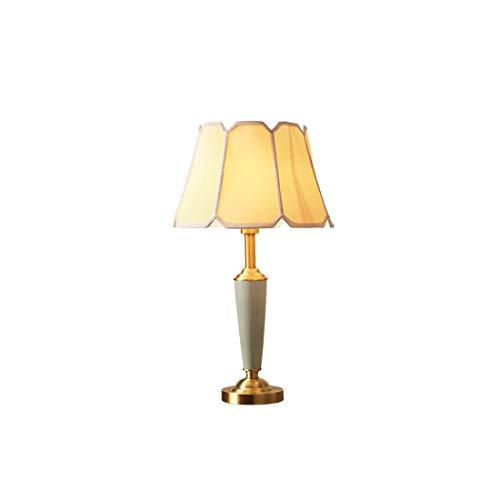 Helele Led-bedlamp, messing, led-tafellamp met stoffen kap voor slaapkamer, woonkamer, werkkamer, bijzettafeltje – wit