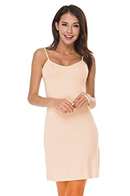 LifeBest Women's Full Slip Under Adjustable Spaghetti Strap Cami Mini Dress Nude, Medium