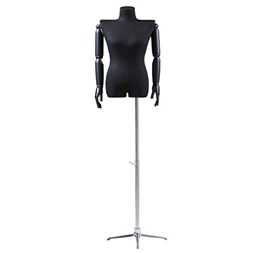 YXX- XL Female Flat Shoulder Mannequin with Arms & Tripod Stand, Adjustable Stand Manikin Dress Form for Clothes Display & Underwear, Black (Color : Silver)