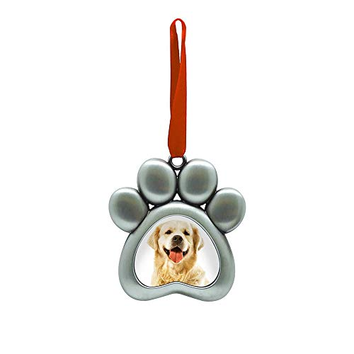 Pearhead Pet Pawprint Metal Holiday Photo Frame Ornament, Christmas Pet Owner Gift, Silver (51012)