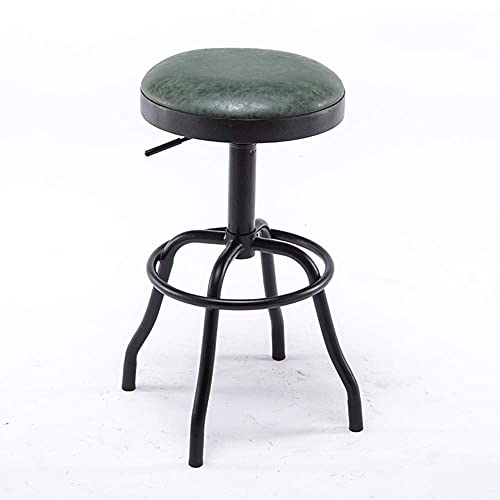 FXBFAG Industrial Round BarStools 360° Swivel Adjustable Kitchen Counter Stools PU Leather Cushioned Seat Vintage Metal Bar Stool Pub Height Chairs, Black