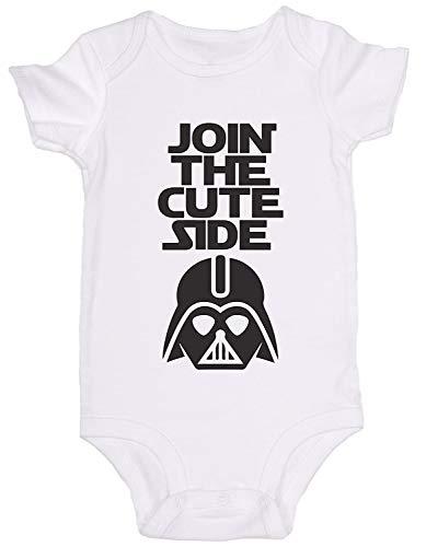 Promini Combinaison bébé mignon – Join The Cute Side Star Wars – Body pour bébé en une seule pièce - Blanc - 9 mois