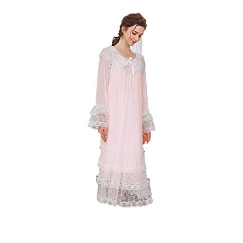 Babydoll con Tangas Sexy Babydoll Encaje Lencería Casual Night Dress Long Sleeve Lace Nightgowns Nightdress-Pink_S