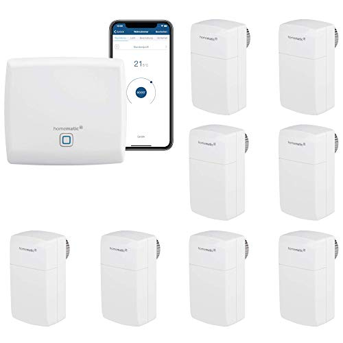 Homematic IP Smart Home Heizungssteuerung für 8 Heizkörper. Geeignet für Büros, Arztpraxen und Wartezimmer. Manipulationssicheres Behördenmodell-Thermostat mit Demontageschutz gegen Diebstahl.