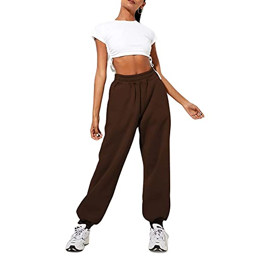 Qtinghua Women's Cinch Bottom Sweatpants High Waist Sporty Gym Athletic Yoga Jogger Pants Baggy Lounge Trousers with Pockets (Brown, Medium)