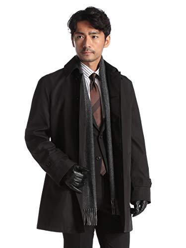 (サカゼン) ビジネスコート メンズ スプリングコート 春秋冬 ボンディング ステンカラーコート メンズコート 3L ブラック