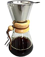 Glass Pour-over Coffee Drip with Stainless Steel Filter For Coffee specialty 600 ml
