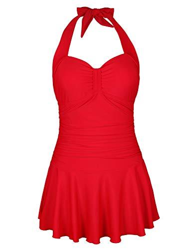 BALEAF Women's One Piece Swimdress Skirted Tummy Control Push Up Swimsuit Bathing Suit Red XS
