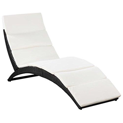 vidaXL Chaise Longue Pliable avec Coussin Bain de Soleil de Jardin Transat de Patio Chaise Longue d'Extérieur Terrasse Plage Résine Tressée Noir