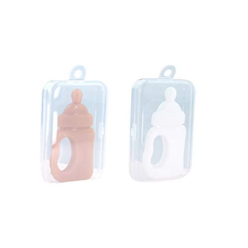 EXCEART 2 Stück Baby Beißring Silikonflasche Geformte Stöcke Kreative Tragbare Beißspielzeug Beruhigendes Spielzeug für Kinder Kleinkind Kleinkind Neugeborenes