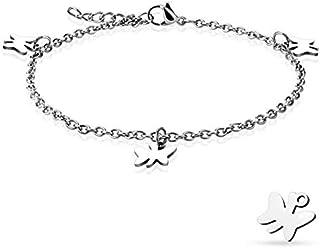 Cavigliera/bracciale con catena in acciaio inossidabile 316L con ciondolo a farfalla