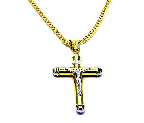 Collana da Uomo in Oro Giallo 18kt (750) Catena Rombo Cm 50 Pendente Croce Cristo Cappucci Bicolore