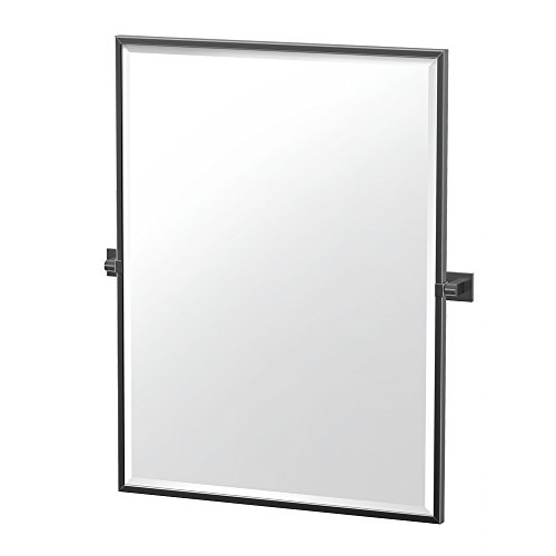 "Gatco 4059MXFS Elevate Framed Rectangle Mirror, Matte Black, 32.5""H"
