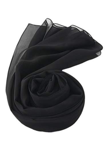 prettystern 180 cm Lunga Stola stola donna cerimonia Sciarpa Foulard Pura Seta Crepe Georgette Nero
