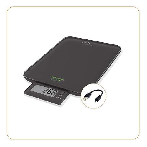 Little Balance 8232 Slide 10 Rechargement USB Balance de Cuisine sans piles-10 kg / 1 g Ecran rétractable, Noir