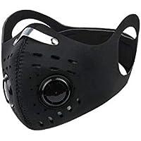XUXN - Protector facial transpirable con 2 filtros, a prueba de polvo, anticontaminación y reutilizable, para ciclismo, 0861951XI3DB9E, negro