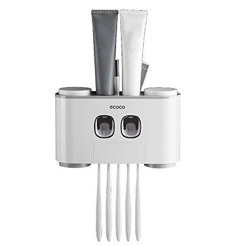Galapara Zahnbürstenhalter, Zahnpastaspender Automatisch, Automatischer Wand Zahnpastaspender und Zahnbürstenhalterung Set mit 2 Zahnpastaspendern 4 Tassen und 5 Zahnbürstenschlitzen