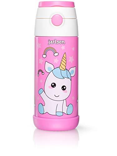 Jarlson Botella Agua sin bpa niños , Botellas Agua Acero Inoxidable - termica , a Prueba de Fugas , para la Escuela y Deportes , el Termo , 350 ml