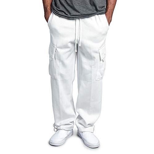 2021 Nuevo Pantalones para Hombre, Cintura Ajustable por Cordón y Bolsillos Pantalones Moda Casual Trabajo Pantalones Chándal de Hombres Jogging Pants Trend Largo Pantalones Fitness Chandal Hombre