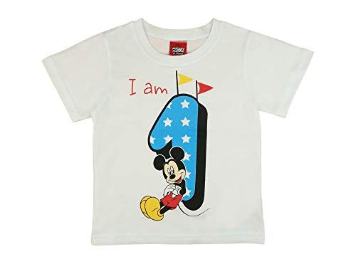 Jungen Baby Kinder 1. erster Geburtstag Kurzarm T-Shirt 1 Jahre Baumwolle Birthday Outfit GRÖSSE 86 Mickey Mouse Disney Design in Weiss oder Blau Babyshirt Oberteil Hemd Polo Farbe Weiss