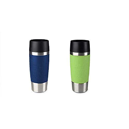 Emsa Standard-Design Travel Mugs, blau/limette, 2 x 360ml