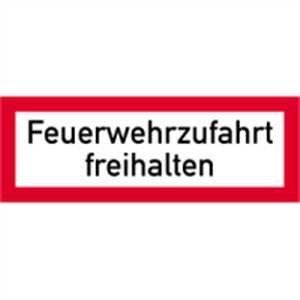 Schild Feuerwehrzufahrt freihalten gemäß DIN 4066, Alu 21 x 59,4cm (Brandschutzzeichen, Parkverbot) praxisbewährt, wetterfest