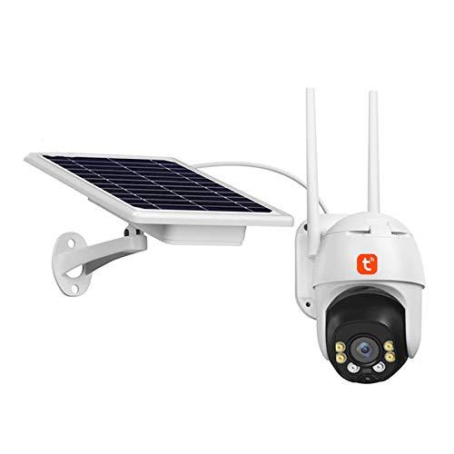 Tuya WIFI Cámara IP, cámara de video de seguridad PTZ con seguimiento automático de energía solar para exteriores, vigilancia CCTV de visión nocturna de 3 MP (batería incluida),Camera