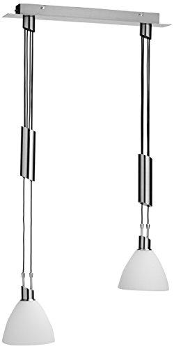 Wofi Pendelleuchte-Savannah, 2-flammig, Nickel-matt, Länge: 60 cm, Max. Abhängung : 150 cm, Höhe