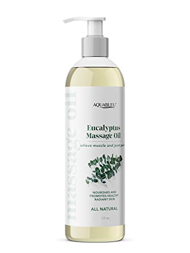 Aquableu's Eucalyptus Massage Oil – at Home Massage Therapy – Soothes Irritated Skin and Muscle Pain, Promotes Mental Clarity – All-Natural Ingredients – Sensual and Edible – 12oz