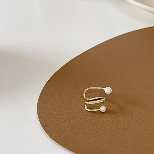 TIANGUO Coreano Gold Wave Line Pearl Earcuff Finte Piercing Perle Clip su Orecchini per Donne Charms Abstract Snake Ear Cuff Jewelry